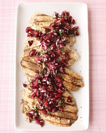 Cherry topped tilapia