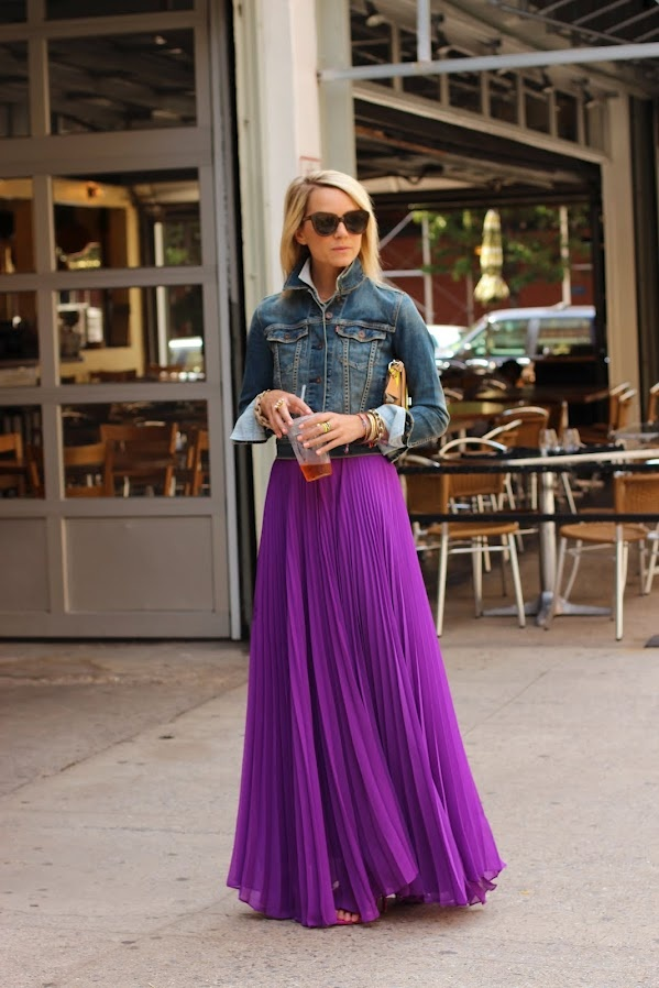 Denim and Pleated Skirt