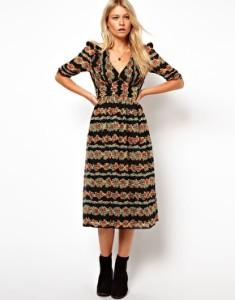 ASOS Midi Dress In Floral Stripe Print