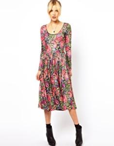 ASOS Midi Dress In Tapestry Style Print