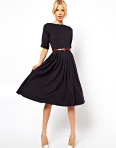 ASOS Midi Dress With Full Skirt And Belt
