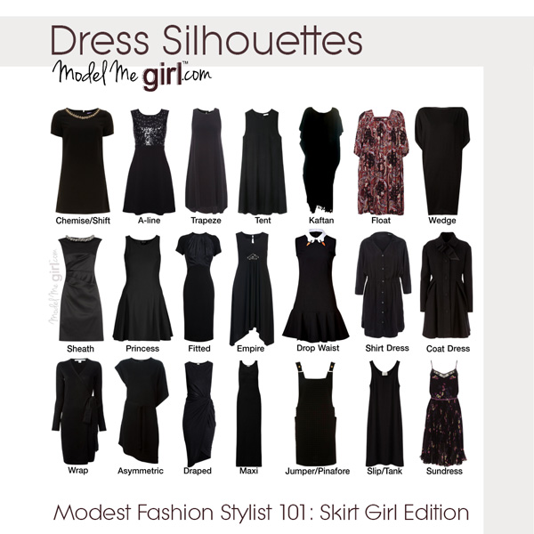 Dress Silhouettes — Modest Fashion Stylist 101— Skirt Girl Edition — Model Me Girl