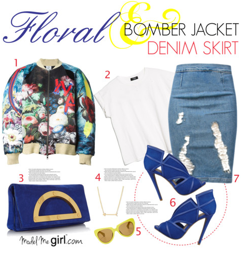 Floral Bomber Jacket and Denim Skirt