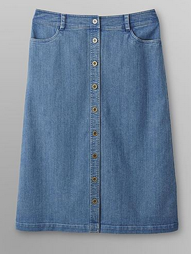Laura Scott Women's Button-Front Denim Skirt