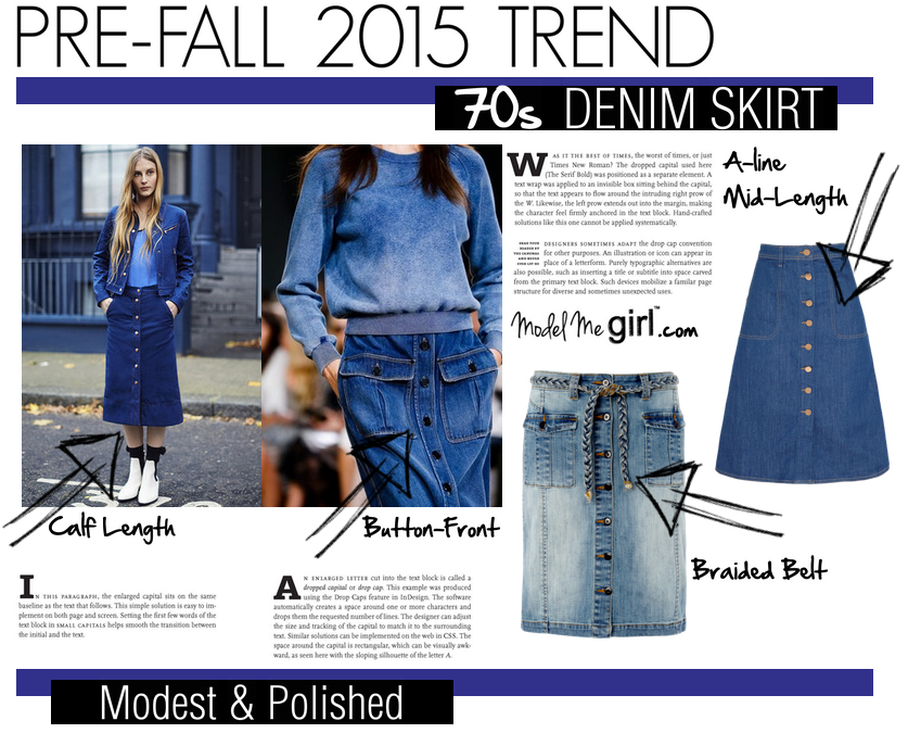 Pre-Fall 2015 Trend--70s Denim Skirt--Model Me Girl